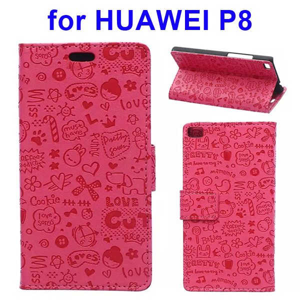 Superior Quality Lovely Design Flip Stand Leather Case Cover for Huawei P8 (Rose)