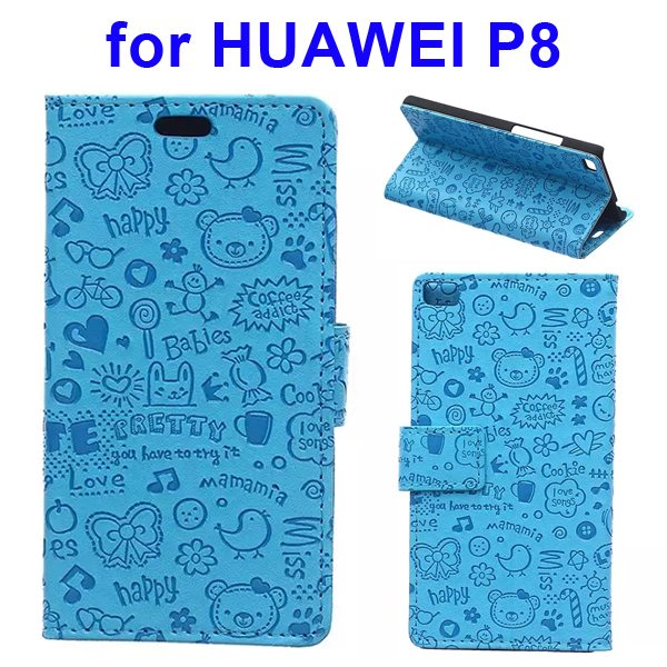 Superior Quality Lovely Design Flip Stand Leather Case Cover for Huawei P8 (Blue)