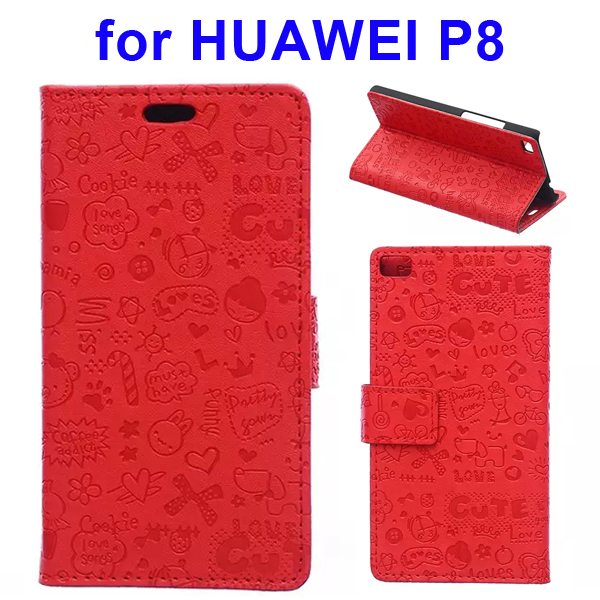 Superior Quality Lovely Design Flip Stand Leather Case Cover for Huawei P8 (Red)