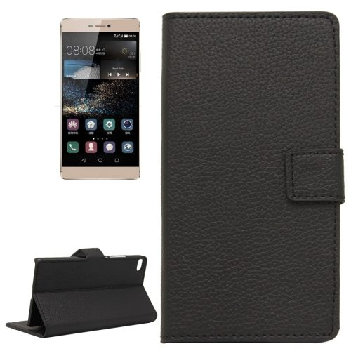 Litchi Texture Horizontal Flip Magnetic Buckle Leather Wallet Case for Huawei P8 (Black)