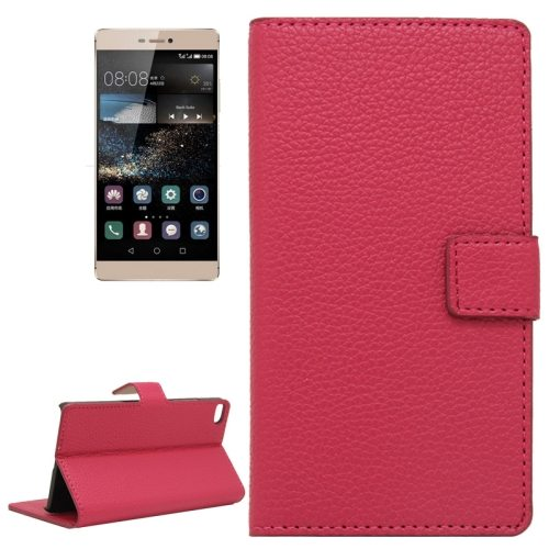 Litchi Texture Horizontal Flip Magnetic Buckle Leather Wallet Case for Huawei P8 (Red)