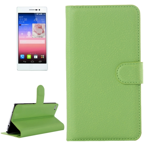 2015 New Products Litchi Texture Flip Wallet Style Mobile Phone Case for Huawei P8 (Green)