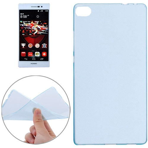 Transparent Design Soft TPU Cover for Huawei Ascend P8 (Blue)