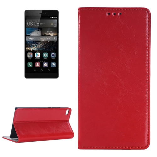 Crazy Horse Texture Flip Genuine Leather Phone Case for Huawei P8 with Holder and Card Slot (Red)