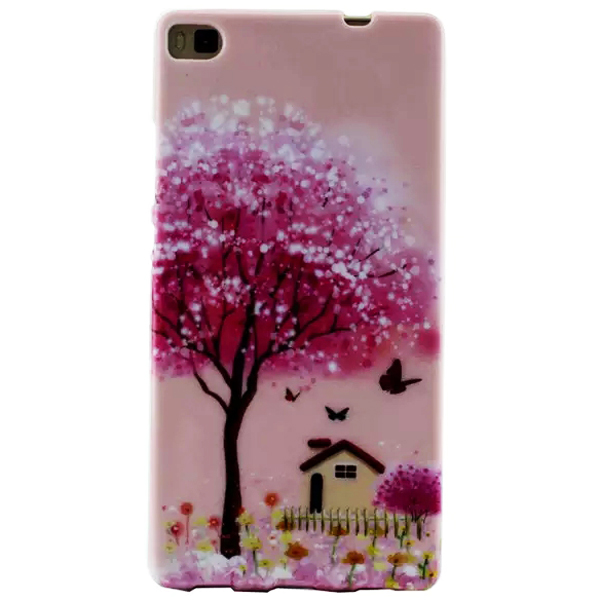 Creative Pattern Soft TPU Cover Case for Huawei Ascend P8 (Flower Pattern 1)