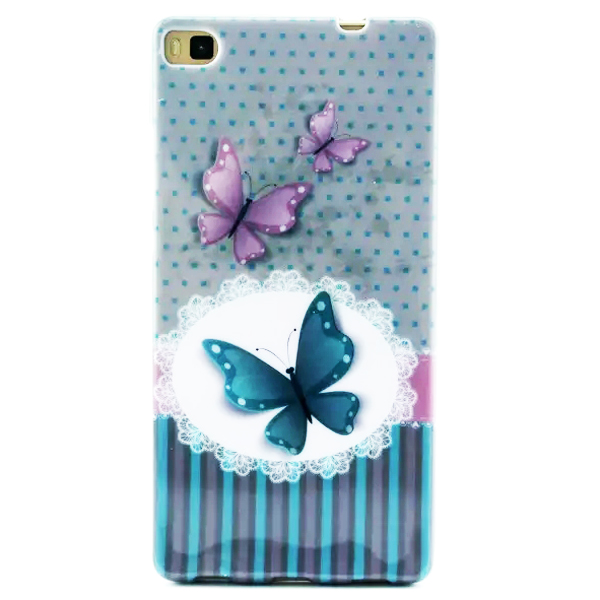 Creative Pattern Soft TPU Cover Case for Huawei Ascend P8 (Butterfly Pattern)