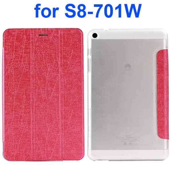 Palm Texture Transparent Hard Back Cover and PU Leather Flip Tablet Case for Huawei S8-701W (Rose)
