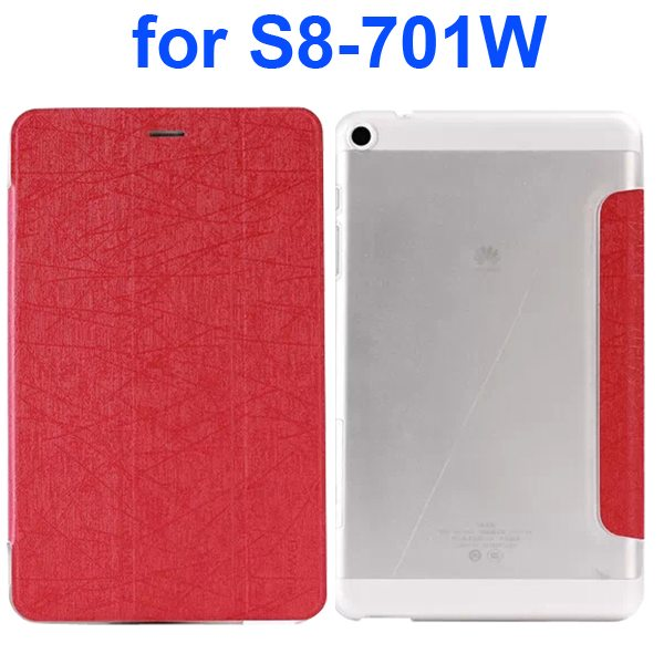 Palm Texture Transparent Hard Back Cover and PU Leather Flip Tablet Case for Huawei S8-701W (Red)
