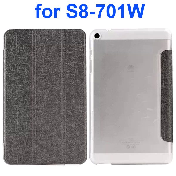 Palm Texture Transparent Hard Back Cover and PU Leather Flip Tablet Case for Huawei S8-701W (Gray)