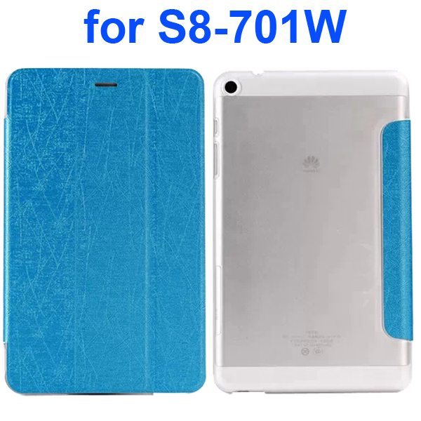 Palm Texture Transparent Hard Back Cover and PU Leather Flip Tablet Case for Huawei S8-701W (Baby Blue)