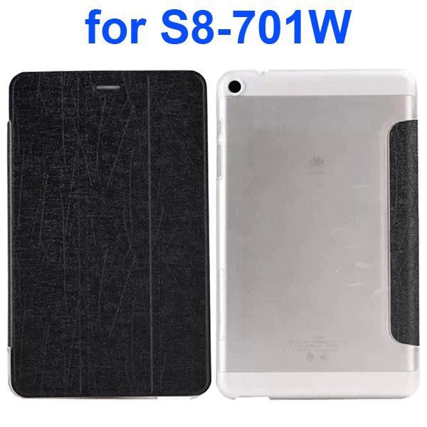 Palm Texture Transparent Hard Back Cover and PU Leather Flip Tablet Case for Huawei S8-701W (Black)