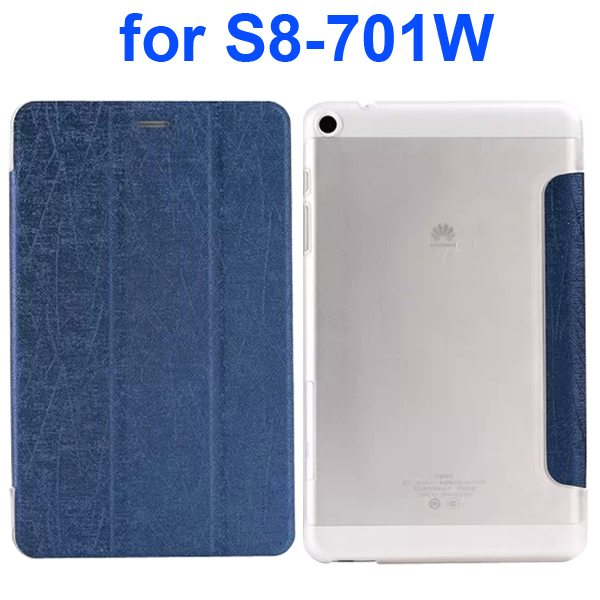 Palm Texture Transparent Hard Back Cover and PU Leather Flip Tablet Case for Huawei S8-701W (Dark Blue)