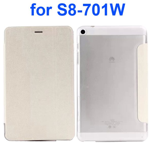 Palm Texture Transparent Hard Back Cover and PU Leather Flip Tablet Case for Huawei S8-701W (White)