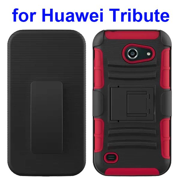 3 in 1 Pattern Holster Silicone and PC Rugged Case for Huawei Tribute Y536 with Kickstand (Red)