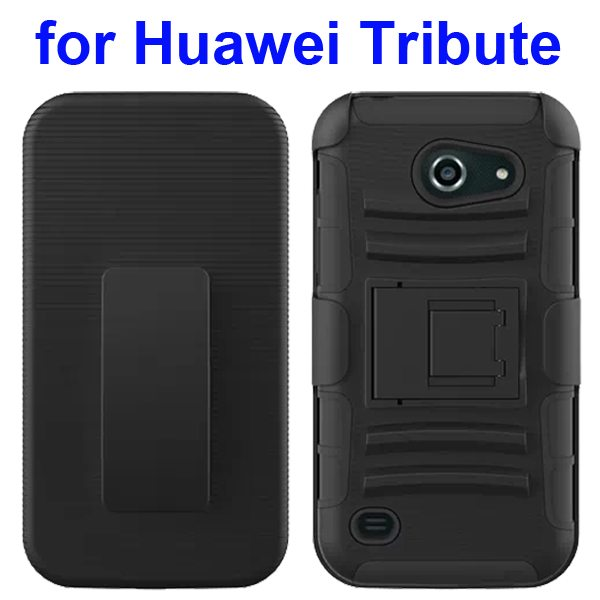 3 in 1 Pattern Holster Silicone and PC Rugged Case for Huawei Tribute Y536 with Kickstand (Black)