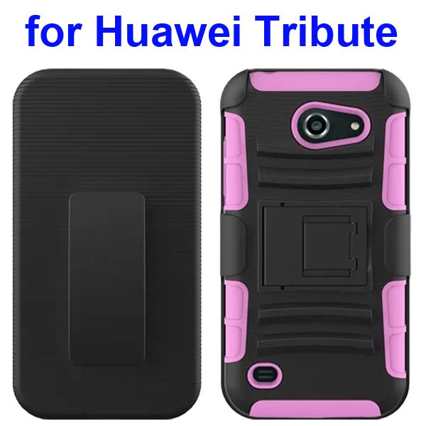 3 in 1 Pattern Holster Silicone and PC Rugged Case for Huawei Tribute Y536 with Kickstand (Pink)