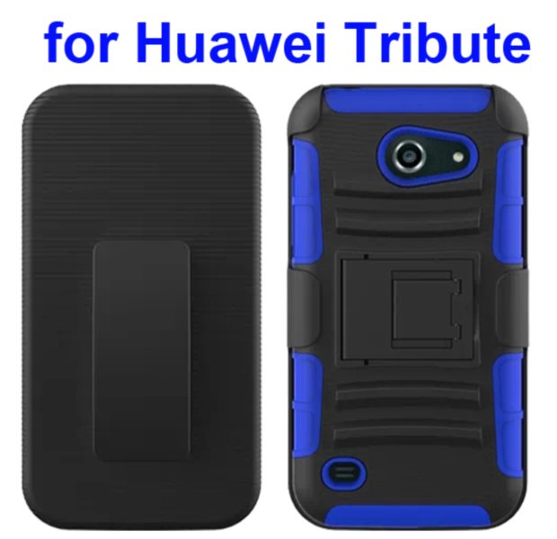 3 in 1 Pattern Holster Silicone and PC Rugged Case for Huawei Tribute Y536 with Kickstand (Blue)