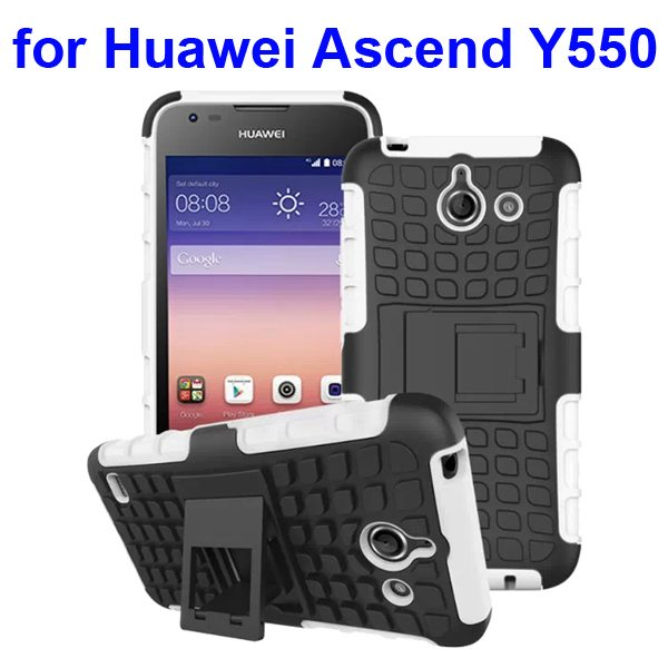 2 in 1 Silicone and Hard Protective Hybrid Case for Huawei Ascend Y550 with Holder (White)