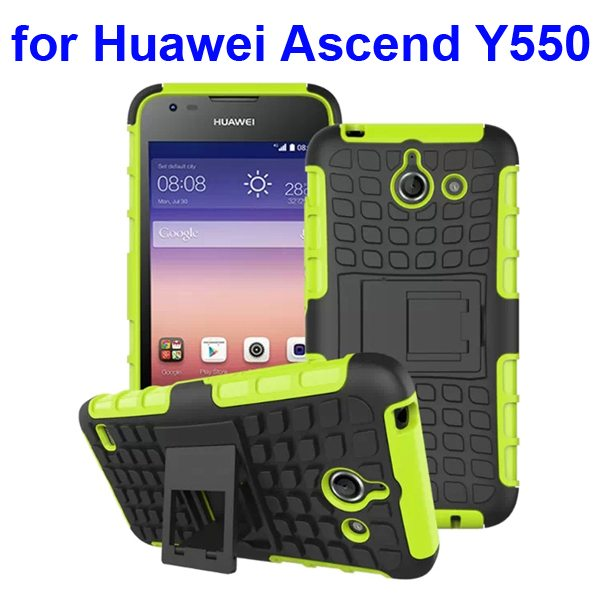 2 in 1 Silicone and Hard Protective Hybrid Case for Huawei Ascend Y550 with Holder (Green)