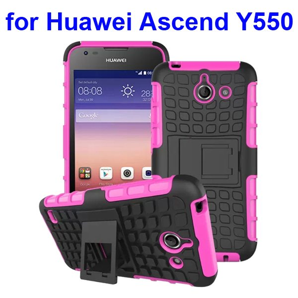 2 in 1 Silicone and Hard Protective Hybrid Case for Huawei Ascend Y550 with Holder (Rose)