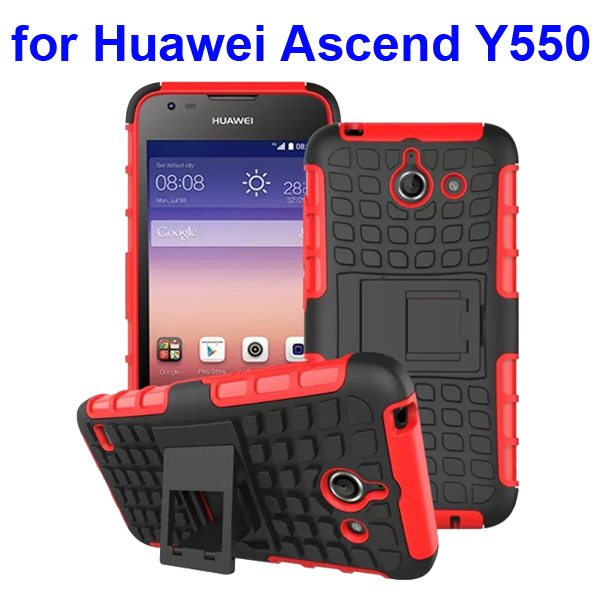 2 in 1 Silicone and Hard Protective Hybrid Case for Huawei Ascend Y550 with Holder (Red)