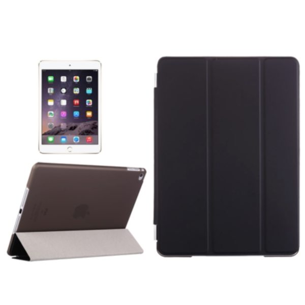 Three Folio Flip Durable Leather Cover for iPad Air 2/ iPad 6 with Stand (Black)