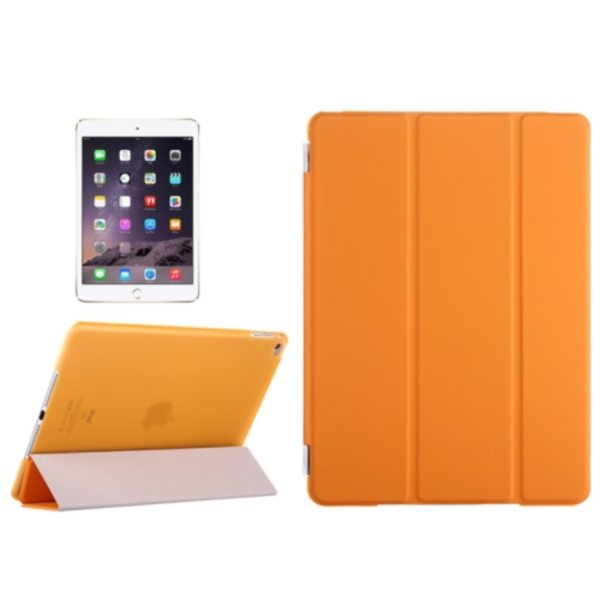 Three Folio Flip Durable Leather Cover for iPad Air 2/ iPad 6 with Stand (Orange)