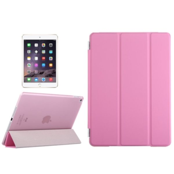 Three Folio Flip Durable Leather Cover for iPad Air 2/ iPad 6 with Stand (Pink)
