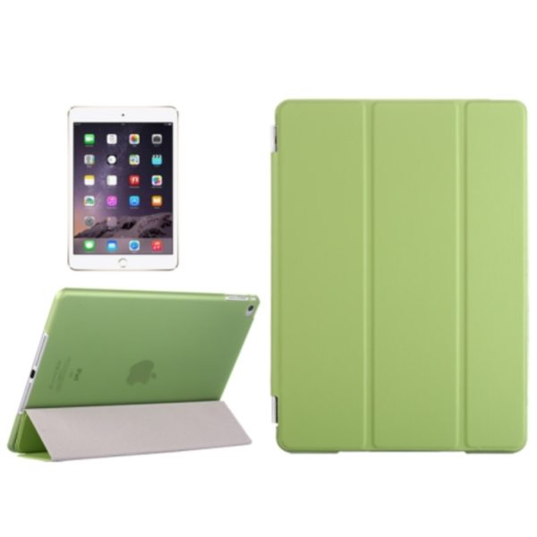 Three Folio Flip Durable Leather Cover for iPad Air 2/ iPad 6 with Stand (Green)