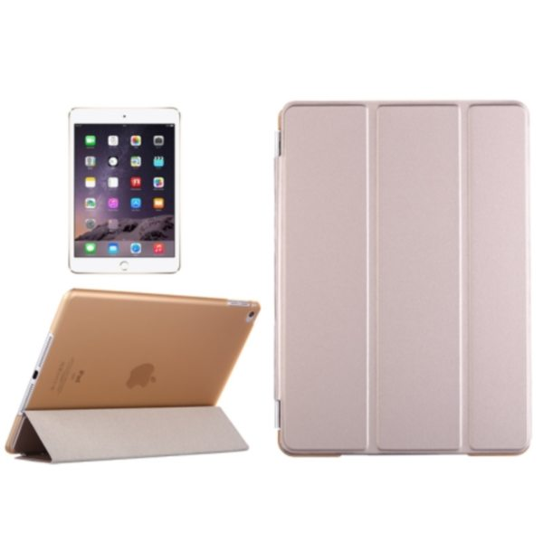 Three Folio Flip Durable Leather Cover for iPad Air 2/ iPad 6 with Stand (Silver)