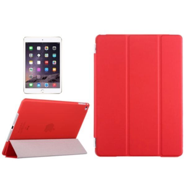 Three Folio Flip Durable Leather Cover for iPad Air 2/ iPad 6 with Stand (Red)