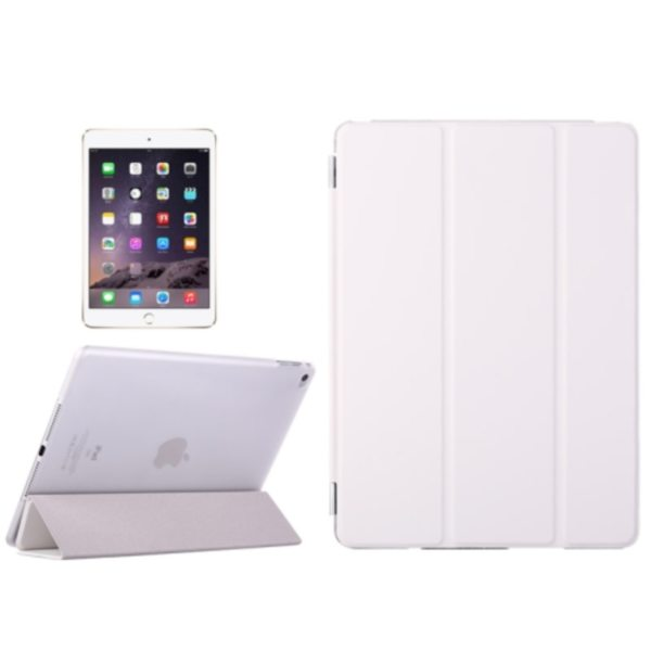 Three Folio Flip Durable Leather Cover for iPad Air 2/ iPad 6 with Stand (White)