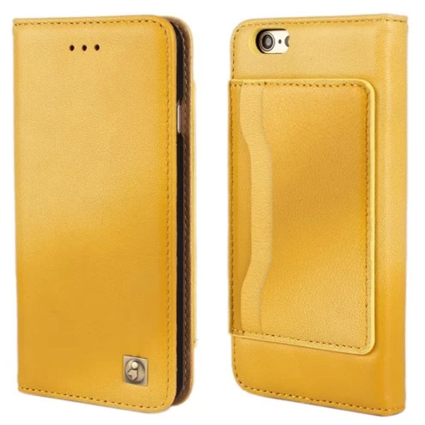 Sheep Skin Texture Flip Wallet Genuine Leather Cellphone Case Cover for iPhone 6 Plus (Yellow)