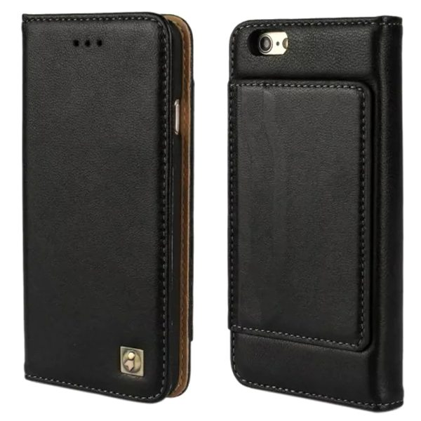 Sheep Skin Texture Flip Wallet Genuine Leather Cellphone Case Cover for iPhone 6 Plus (Black)