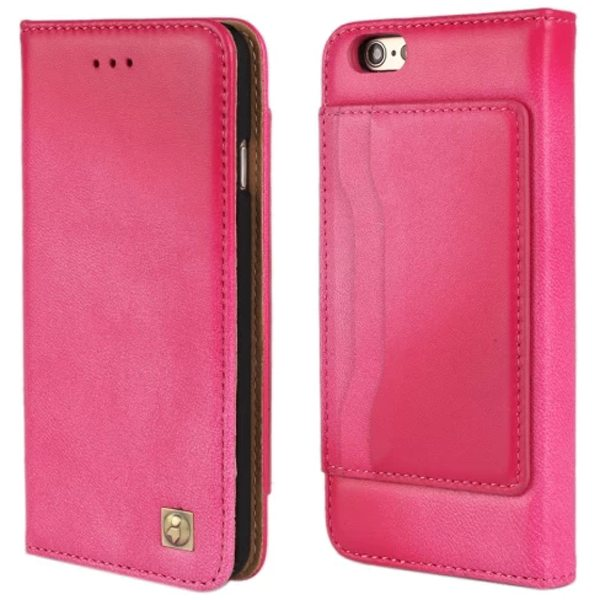 Sheep Skin Texture Flip Wallet Genuine Leather Cellphone Case Cover for iPhone 6 Plus (Rose)