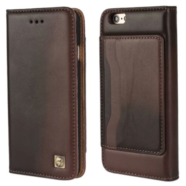 Sheep Skin Texture Flip Wallet Genuine Leather Cellphone Case Cover for iPhone 6 Plus (Brown)