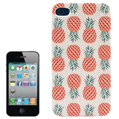 Colorful Designs Transparent Frame Colored Drawing Hard Plastic Case for iPhone 4 (Pineapple Pattern)