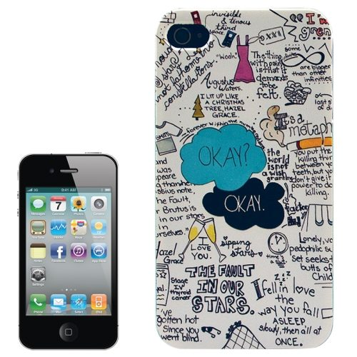 Colorful Designs Transparent Frame Colored Drawing Hard Plastic Case for iPhone 4 (Graffiti Pattern)