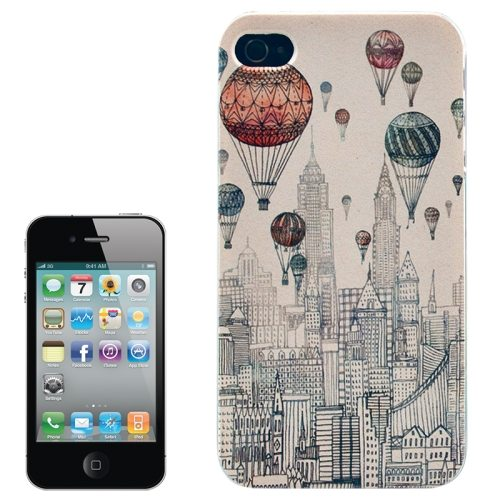 Colorful Designs Transparent Frame Colored Drawing Hard Plastic Case for iPhone 4 (Balloon Pattern)