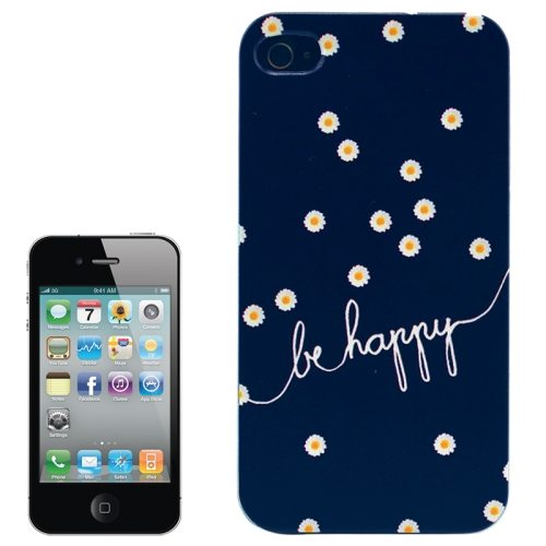 Colorful Designs Transparent Frame Colored Drawing Hard Plastic Case for iPhone 4 (BE HAPPY Pattern)