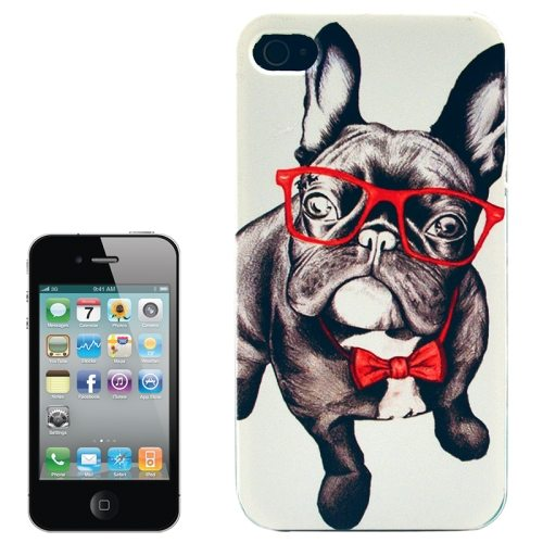 Colorful Designs Transparent Frame Colored Drawing Hard Plastic Case for iPhone 4 (Dog Pattern)