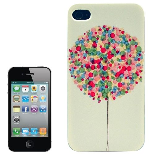 Colorful Designs Transparent Frame Colored Drawing Hard Plastic Case for iPhone 4 (Colorful Balloon Pattern)