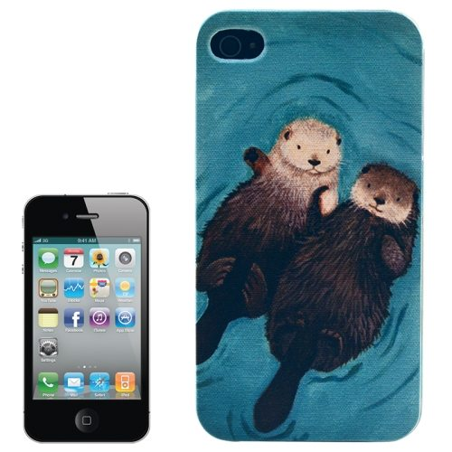 Colorful Designs Transparent Frame Colored Drawing Hard Plastic Case for iPhone 4 (Animal Pattern)