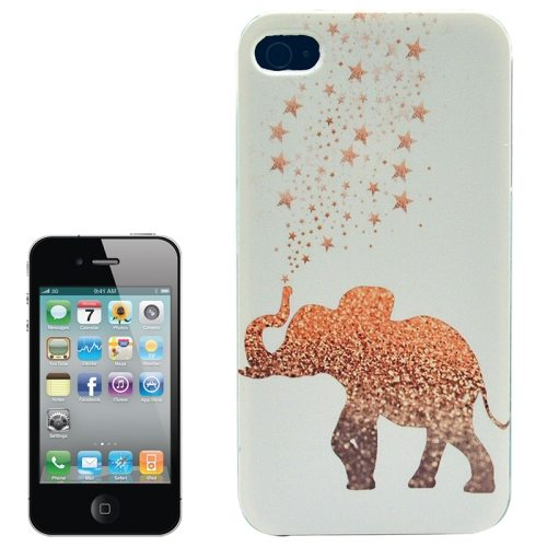 Colorful Designs Transparent Frame Colored Drawing Hard Plastic Case for iPhone 4 (Elephant Pattern)