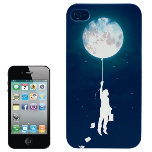 Colorful Designs Transparent Frame Colored Drawing Hard Plastic Case for iPhone 4 (Man and Earth Pattern)
