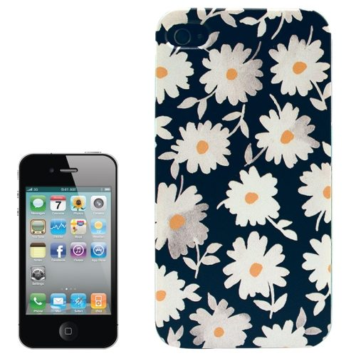Colorful Designs Transparent Frame Colored Drawing Hard Plastic Case for iPhone 4 (White Flowers Pattern)