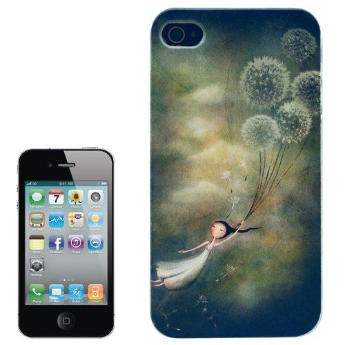 Colorful Designs Transparent Frame Colored Drawing Hard Plastic Case for iPhone 4 (Dandelion Pattern)