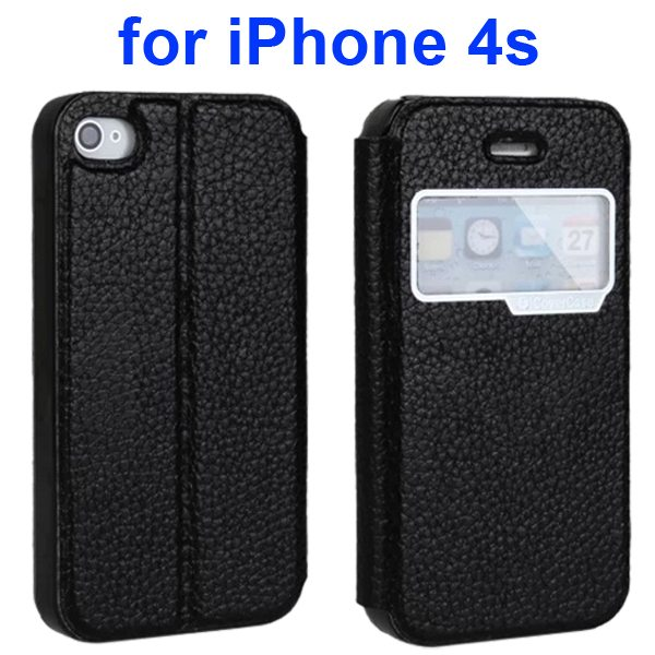 Litchi Texture Flip 100% Genuine Leather Case for iPhone 4S with Caller ID Display Window (Black)
