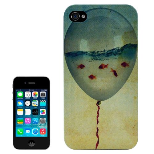 Special Pattern Frosted Black Back Shell Colored Drawing Plastic Case for iPhone 4S (Balloon Aquarium)