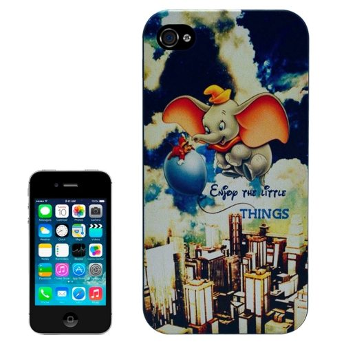 Special Pattern Frosted Black Back Shell Colored Drawing Plastic Case for iPhone 4S (Cute Elephant)